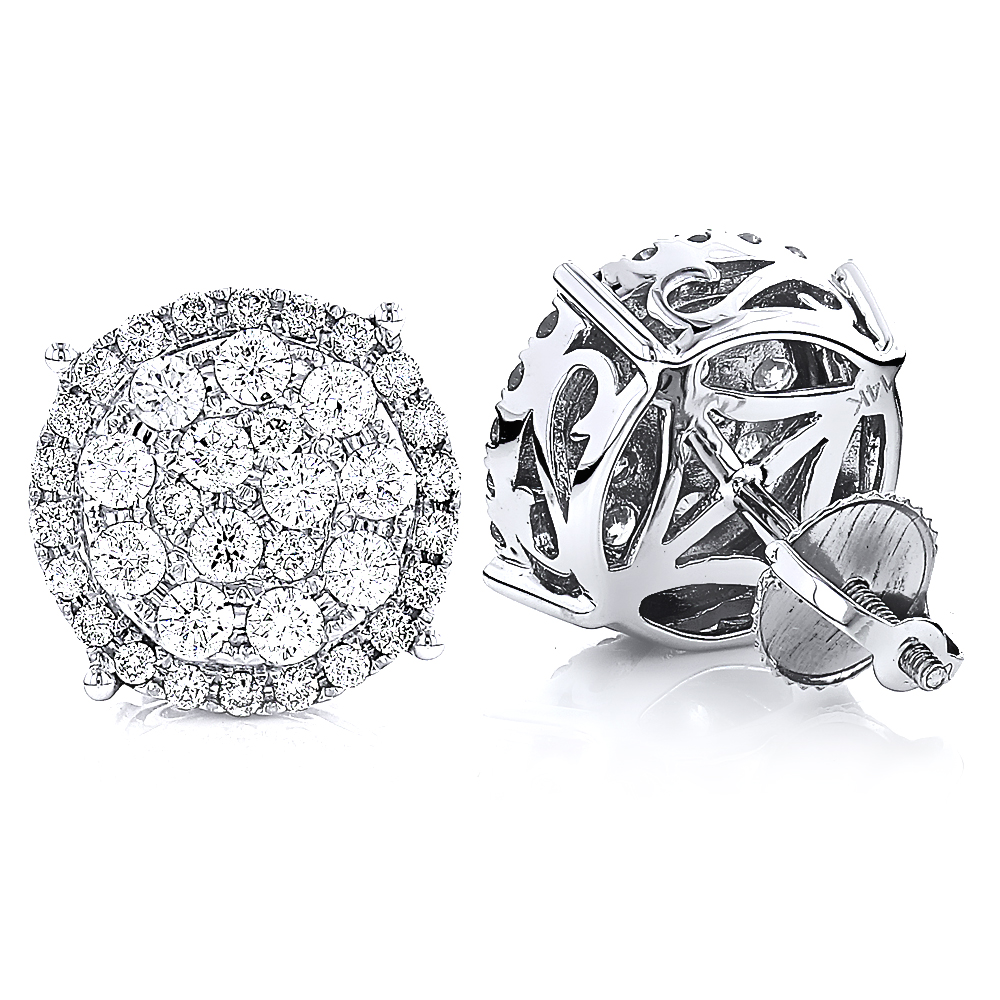 Pave Set Oversized Round Diamond Stud Cluster Earrings 1.78ct 14K Gold