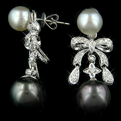 Pearl Jewelry 18K Gold Diamond Pearl Earrings 0.72ct