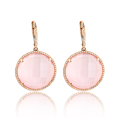Pink Quartz Fine Gemstone Earrings with Diamonds 0.45ct 14K Gold