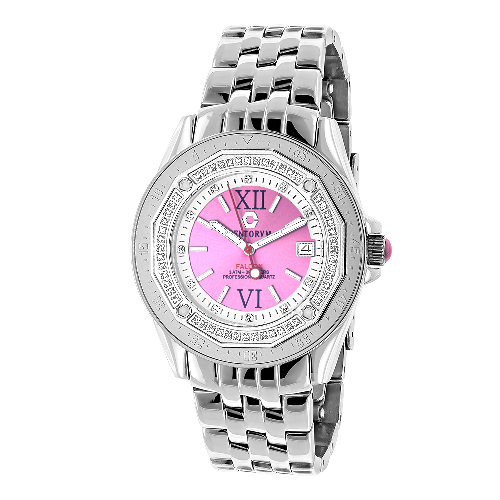 Pink Watches: Ladies Diamond Watch by Centorum 0.50ct Midsize Falcon
