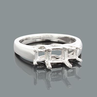 Thin Platinum 3 Stone Engagement Ring Setting