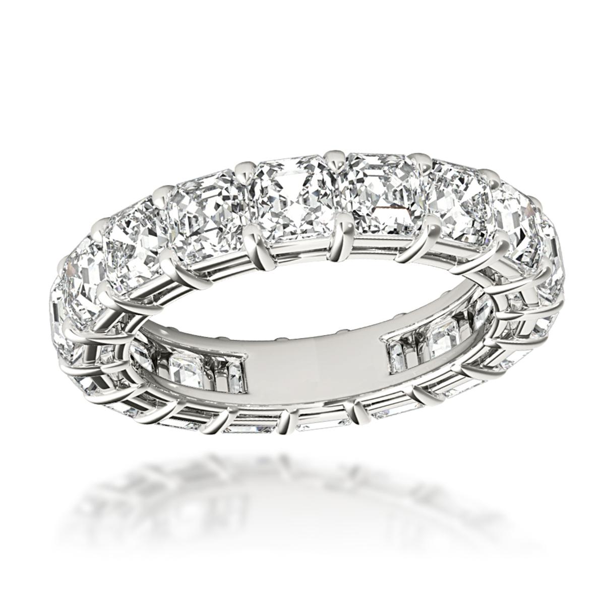 Platinum Asscher Cut Diamond Eternity Ring Anniversary Band for Women 6ct