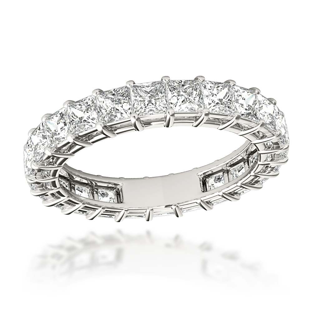 Platinum Cushion Cut Diamond Eternity Band Diamond Anniversary Ring 3ct