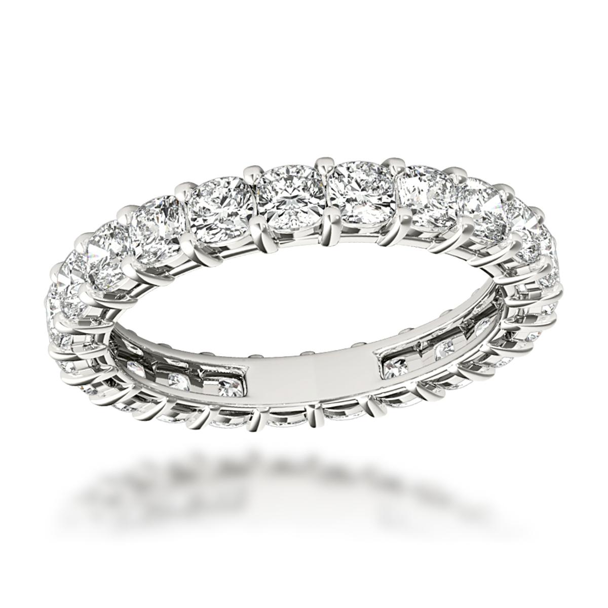 Platinum Cushion Cut Diamond Eternity Ring Diamond Anniversary Ring 2.5ct