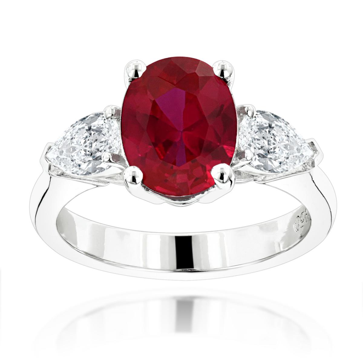 Unique 3 Stone Platinum Diamond and Ruby Engagement Ring