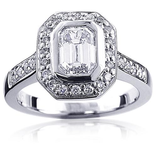 Platinum Emerald Diamond Engagement Ring 1.4ct Halo Design