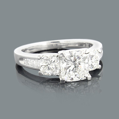 Platinum Engagement Rings: Cushion Cut Diamond Ring 2.75ct