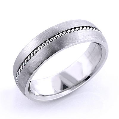Platinum Little Braid Wedding Band for Men