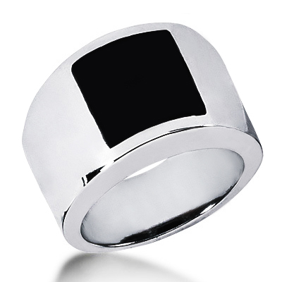 Platinum Mens Black Onyx Ring