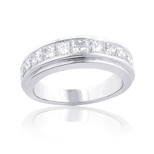 Platinum Mens Diamond Wedding Band 3.6ct Princess Cut Diamonds