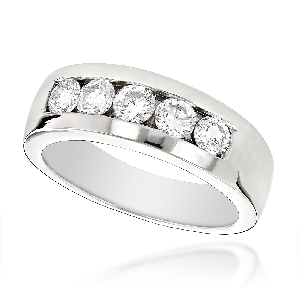 Platinum Mens Diamond Wedding Ring 1ct