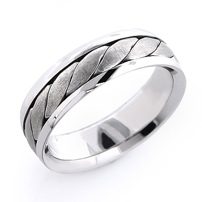 Platinum Mens Woven Wedding Band