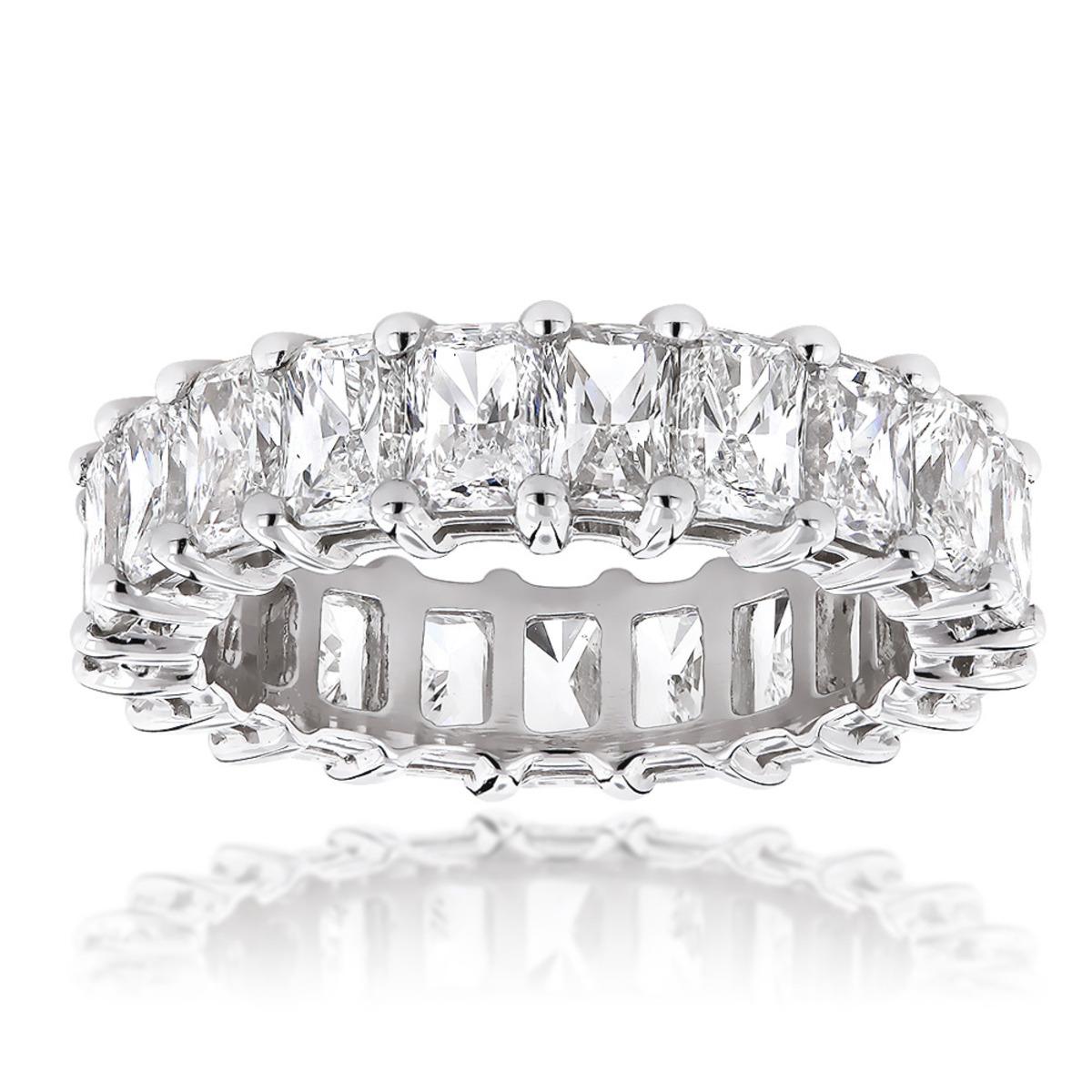 Platinum Radiant Cut Diamonds Eternity Band G/VS 6.6 Carat Anniversary Ring