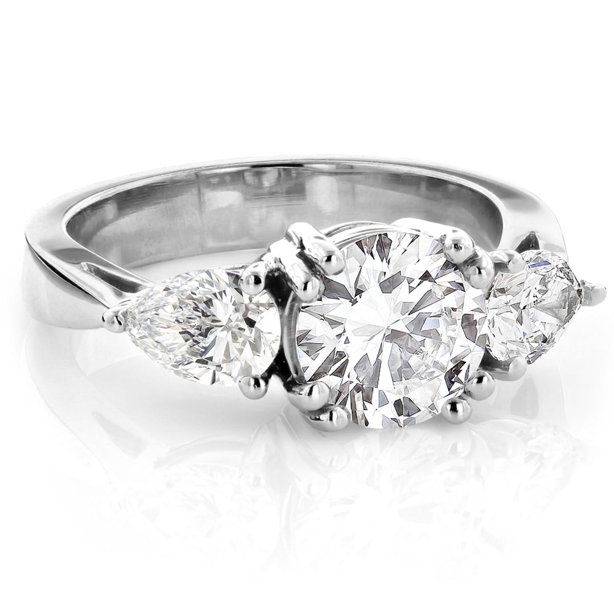 Platinum Three Stone Round and Pear Diamond Engagement Ring 3ct G/VS GIA