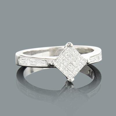 Princess Cut Baguette Diamond Engagement Ring 0.75ct 14K