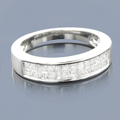 Thin Princess Cut Baguette Diamond Wedding Band 0.77ct 14K