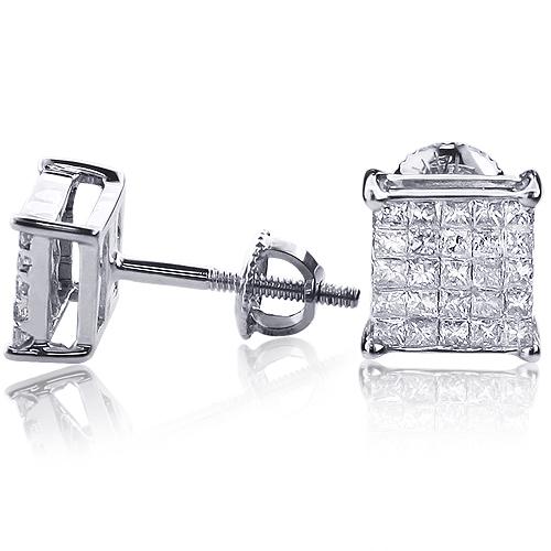 Princess Cut Diamond Earrings 0.6ct 14K Gold Studs