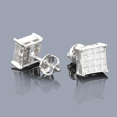 Princess Cut Diamond Earrings 0.95ct 14K Gold