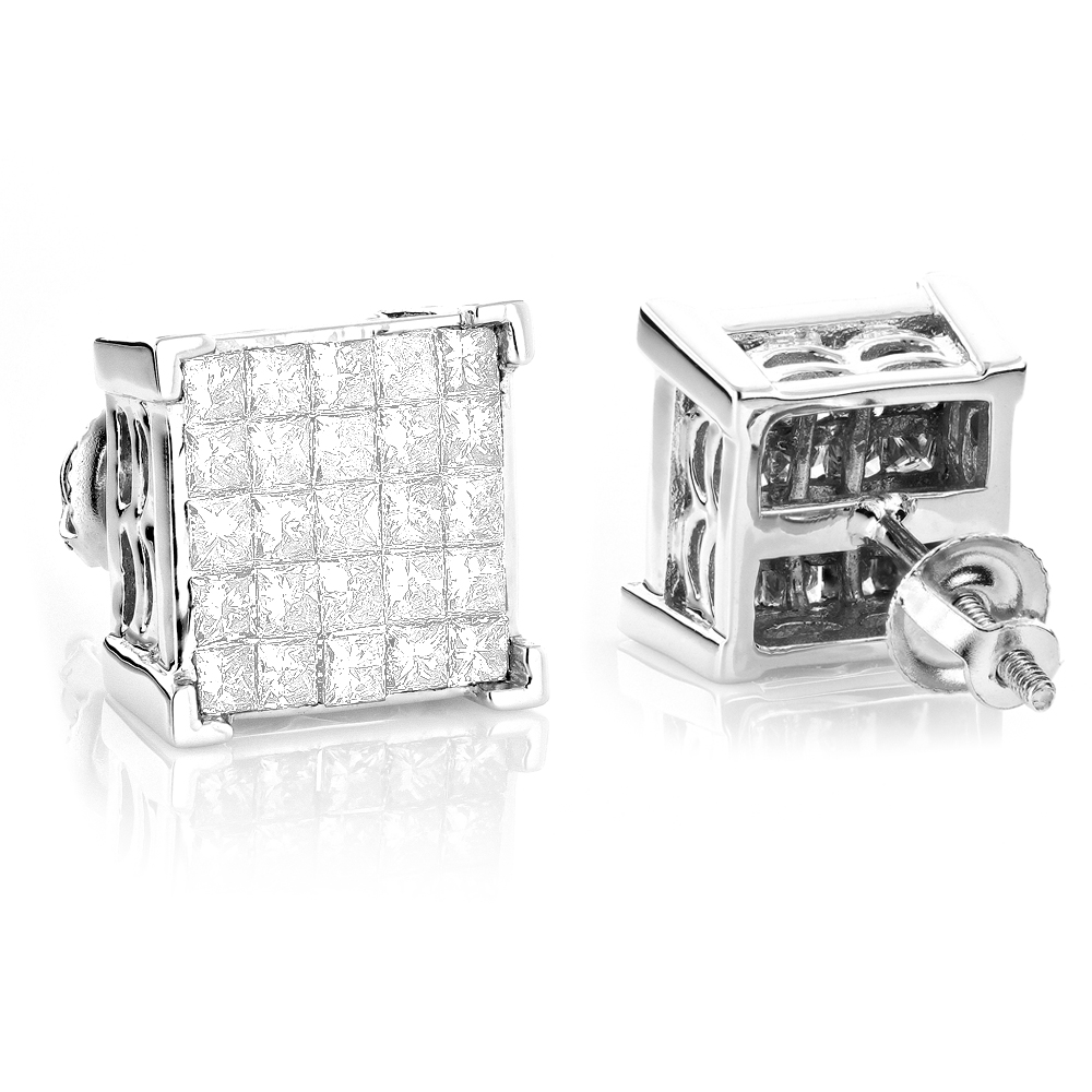 Princess Cut Diamond Earrings Studs 14K Gold 1.38ct