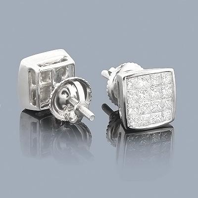 Princess Cut Diamond Earrings 1ct - Invisible Setting