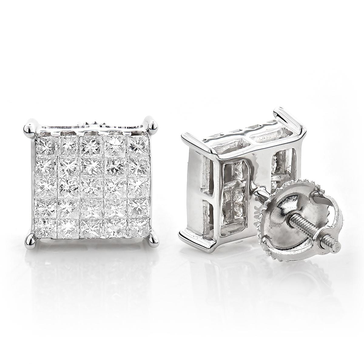 Princess Cut Diamond Earrings - Invisible Setting 1.15
