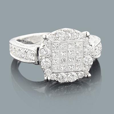 Princess Cut Diamond Engagement Rings: 14K Gold Ring 1.84ct