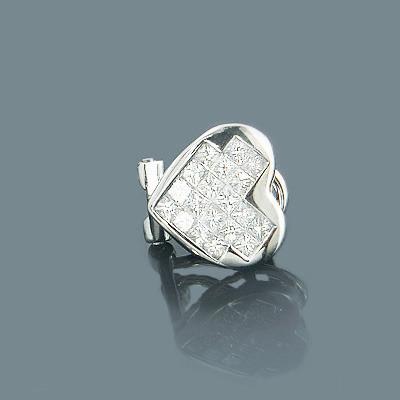 Princess Cut Diamond Heart Earring 0.51ct 14K Gold