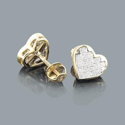 Princess Cut Diamond Heart Earrings 0.64ct 14K