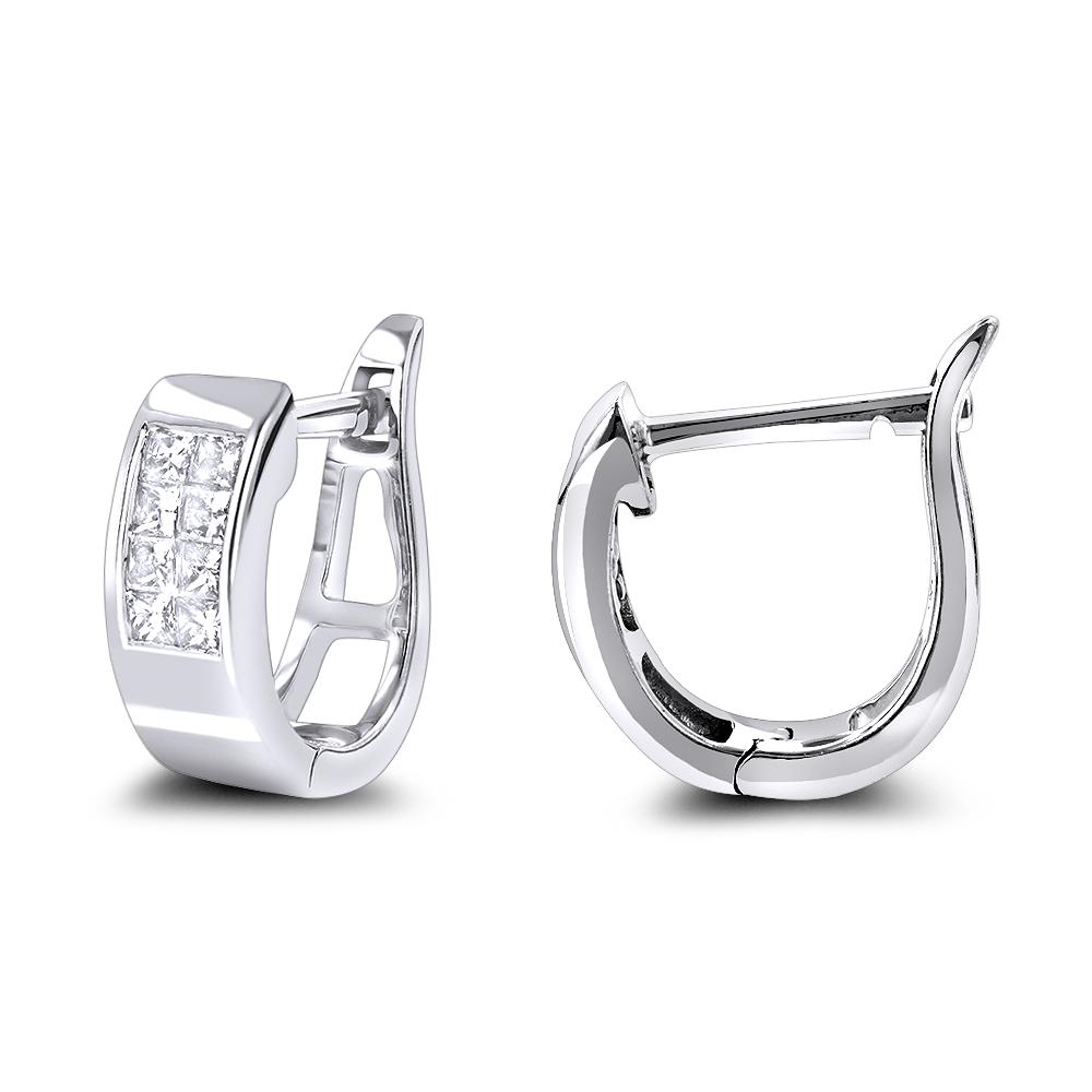 Princess Cut Diamond Huggie Earrings 0.25ct 14K Gold