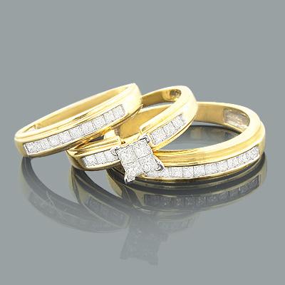 Princess Cut Diamond Ring Set Trio 0.67ct 14K Gold