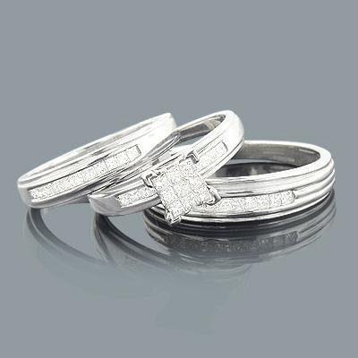 Princess Cut Diamond Ring Set Trio 0.79ct 14K Gold