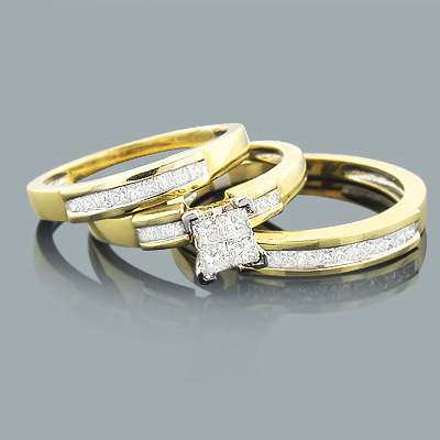 Princess Cut Diamond Ring Set Trio 0.90ct 14K Gold