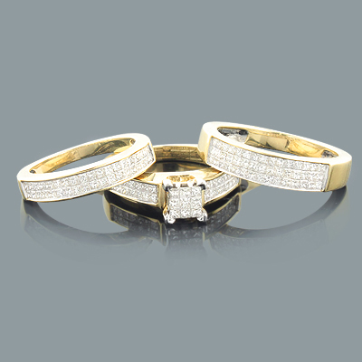 Princess Cut Diamond Ring Set Trio 2.31ct 14K Gold
