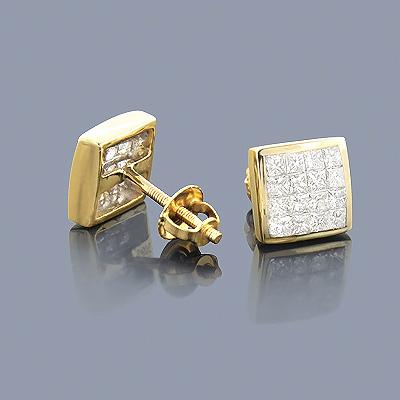 Princess Cut Diamond Stud Earrings 0.84ct 14K