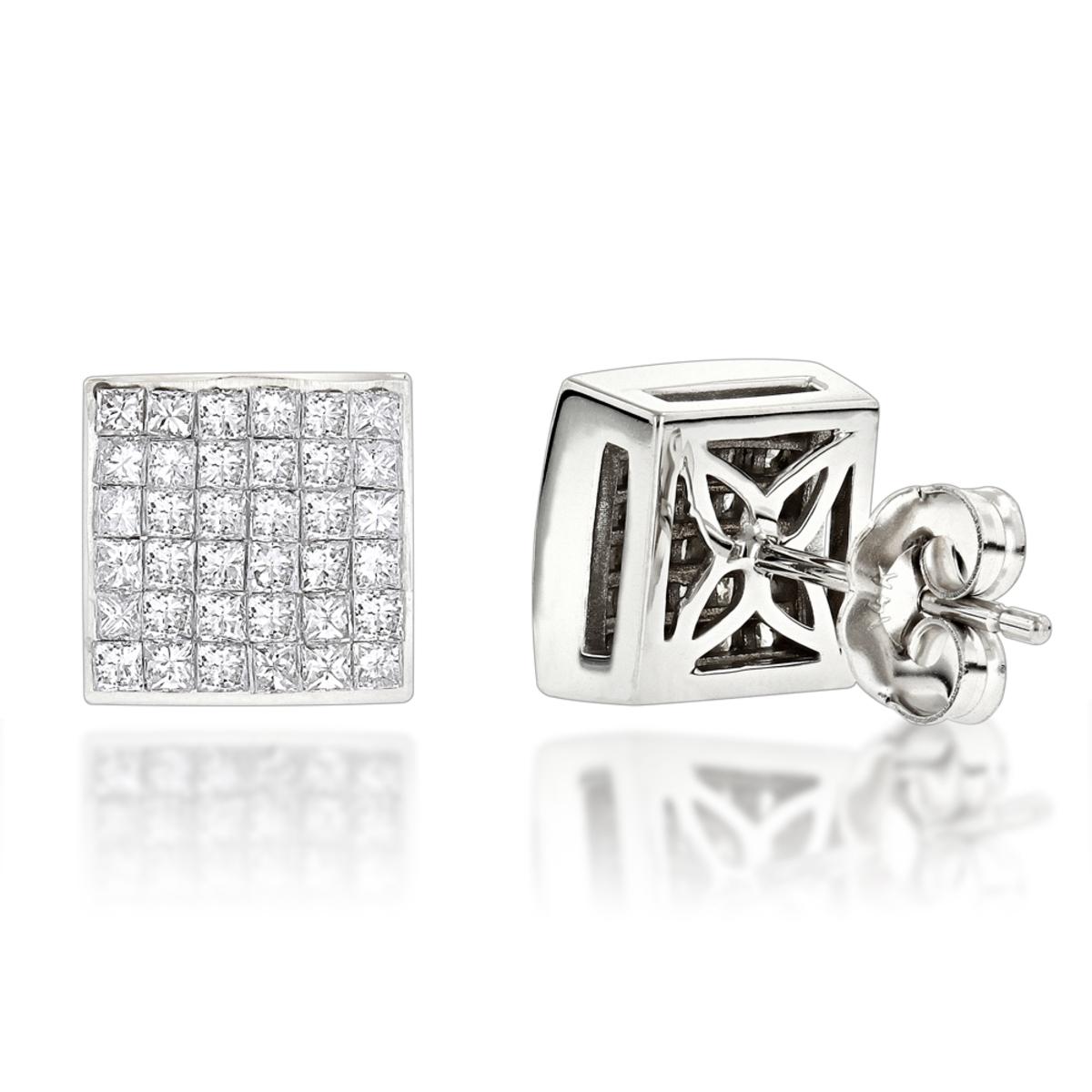 Princess Cut Diamond Stud Earrings 14K 1.65ct Invisible Setting