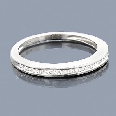Ultra Thin Princess Cut Diamond Wedding Band 0.29ct Sterling Silver
