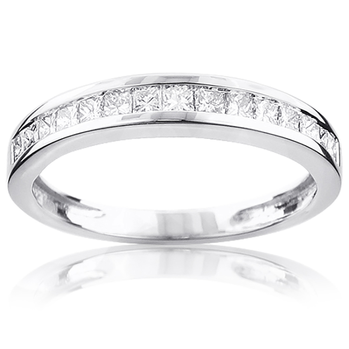 Thin Princess Cut Diamond Wedding Band 0.59ct 14K Gold