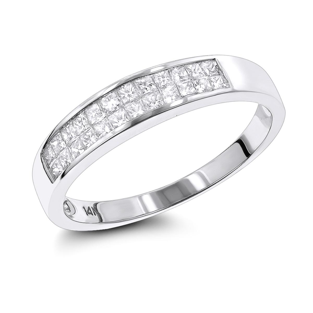 Thin Princess Cut Diamond Wedding Band for Women & Men 0.75ct 14K Gold
