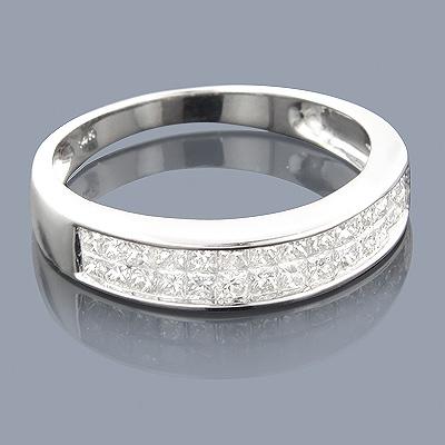Thin Princess Cut Diamond Wedding Band 0.92ct 14K