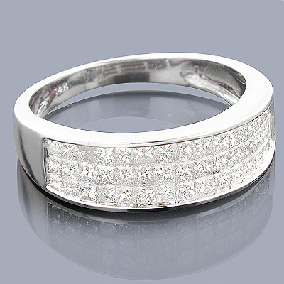 Princess Cut Diamond Wedding Band 1.27ct 14K Gold
