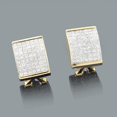 Princess Cut Invisible Set Diamond Earrings 2.87ct 14K