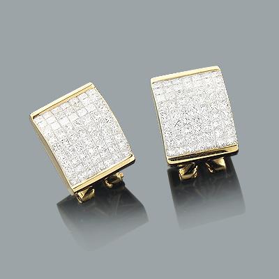 Princess Cut Invisible Set Diamond Earrings 2.99ct 14K