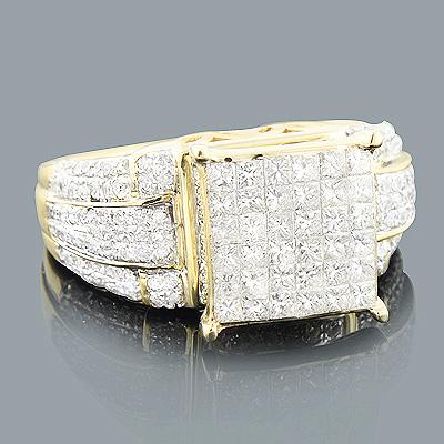 Princess Cut Round Diamond Engagement Ring 14K 1.61ct
