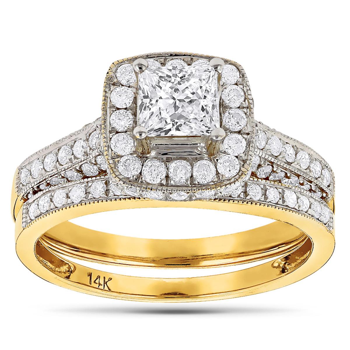 Princess Cut Diamond Halo Engagement Ring Set 1.93ct 14K Gold