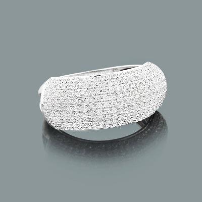 Puffed Diamond Ring 0.78ct 14K Gold Womens Jewelry