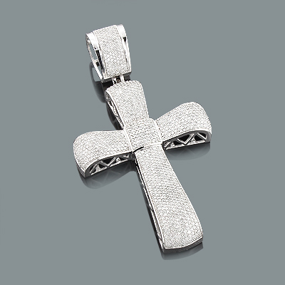 Puffed Gold Diamond Cross Pendant 3.25ct 10K