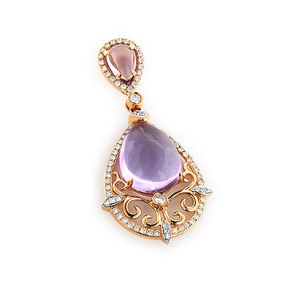 Purple Topaz Diamond Pendant 0.45ct 14K Gold