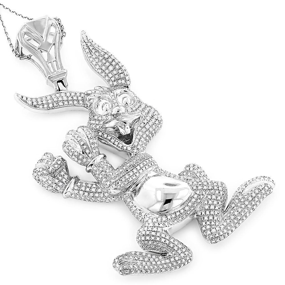 Real Custom Jewelry: Diamond Bugs Bunny Pendant 2.48ct Gold Plated Silver