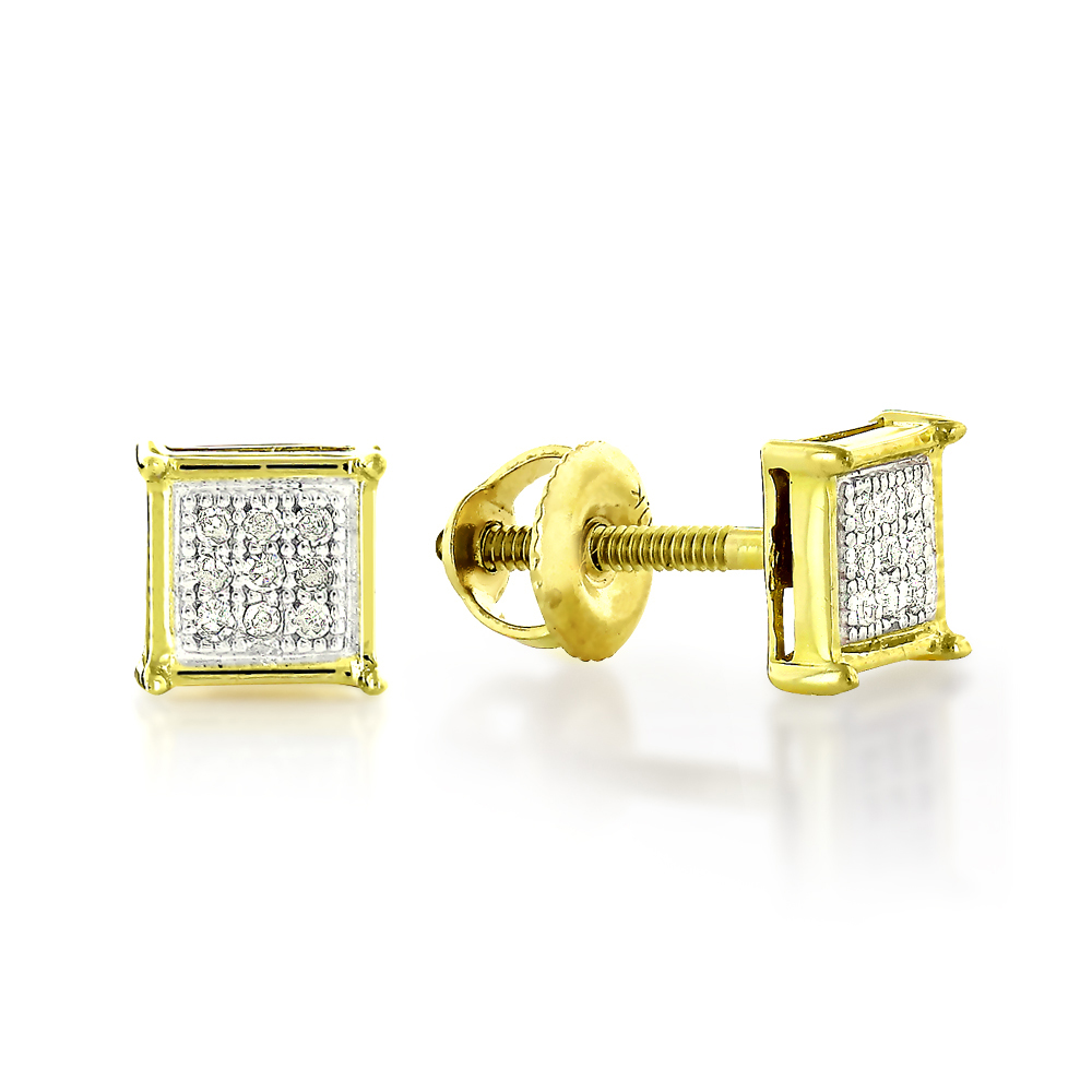 Real Diamond Earrings 10K Round Diamond Earrings .12ct