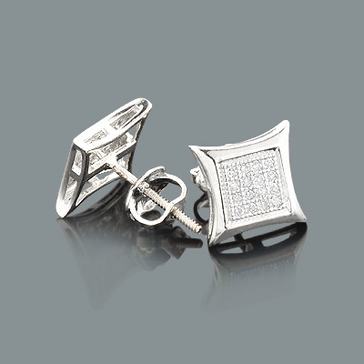 Real Diamond Earrings 10K Gold Round Diamond Studs .18ct